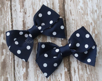 Petite Classic Hairbow, Set of 2, Navy Blue White Polka Dot, Simple Bows, 2.5 Inch Hairbow, Hair Clip, Girls Hairbows, Toddler Hairbows