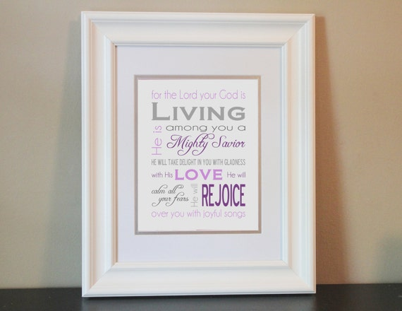 Christian Baby Nursery Art Print (purple & gray)- 8x10 Bible Verse Zephaniah 3:17- Printable or Shipped