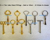 5 x 1 tier Cake Stand Fittings HEAVY Handles for DIY - You choose colour and style