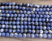 Sodalite Beads -  6mm Round Smooth - 16 inch Full Strand - Blue and White Beads
