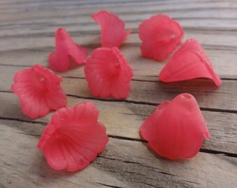 Lucite Flower Beads - Ruffled Calla Lily - Dark Pink, Fuchsia Matte Frosted - 18x17mm
