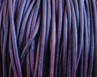 1.5mm Violet Purple Natural Dye Genuine Leather Round Cord