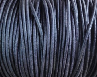 10 Yards Pacific Blue Distressed 2mm Leather Cord Round Natural Dye