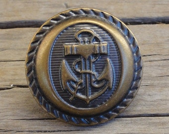 "Metal Antiqued Brass Anchor Buttons - Nautical - Shank - 3/4"" - Navy Club"