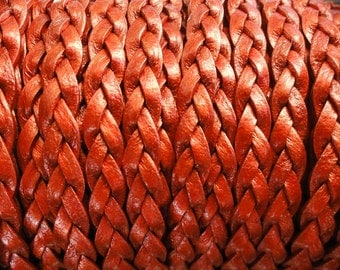 Metallic Moroccan Red Flat Braided Leather Cord - 5mm Wide