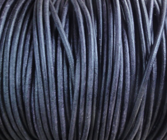 2mm Pacific Blue Leather Cord - Distressed 2mm Leather Cord Round Natural Dye