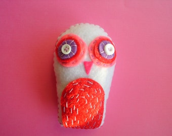 Snow Valentine Owl Softie Pink Plush Plushie Soft Art Doll Stuffed Animal Woodland Owl Red Pink Purple Gift Heart Love