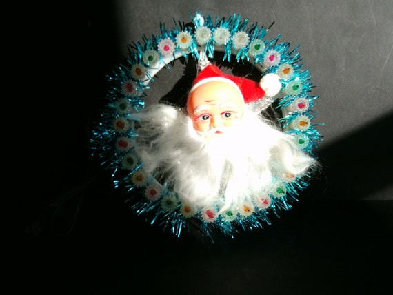 Vintage Santa Lighted Wreath Or Tree Topper By QueenChlorine
