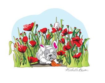 Louie Sleeping in Poppies Print