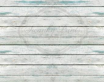 4ft x 3ft Vinyl Backdrop WOOD FLOORDROP Blue White Washed Wood