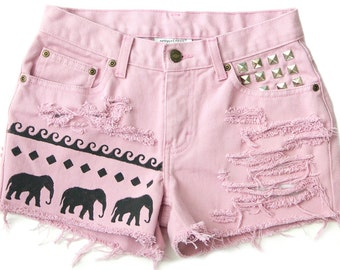 Tribal Aztec Elephant Waves Shorts Hand Painted Pink Vintage Distressed High Waisted Denim Boho Coachella Hipster Small Medium W28