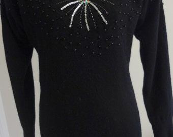 Vintage 80's Avante Garde Sequin Rhinestone Sweater Dress
