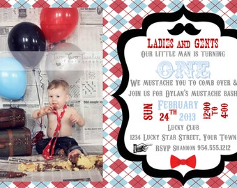 Little Man Mustache Bash Invitation Double Sided Template 4X6