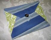 Oversized Envelope Clutch or iPad Case Sleeve, Green Floral & Blue Asymmetric Stripe