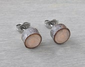 Petite Wood Slice Stud Earrings - Hardwood Post Earrings Natural Oak Wood Stud Earrings with Surgical Steel Posts