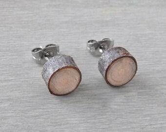 Petite Wood Slice Stud Earrings - Hardwood Post Earrings Natural Oak Wood Stud Earrings with Surgical Steel Posts