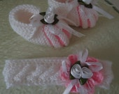 Baby knitting Set , Shoes with Headband