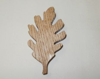 oak leaf fridge  magnet wood scroll saw