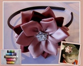 Girls Flower Headband or Hair Clip, Girl Hair Flower, Girls Hair Accessory, Kanzashi Flower, Special Occasion Hair Accessory, Choose Color