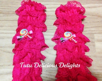 Lace ruffle leg warmers with resins to match your tutu dress