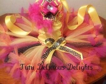 Pink Yellow Orange Leopard Luau Tutu Dress~ Petti Tutu Dress~ Hawaiian Dress~ Luau Party~ Photo Prop ~ Kids Birthday Tutu~ Pageant Dress