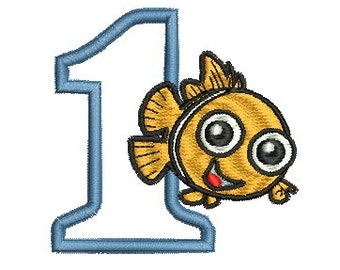 Nemo Birthday Number Applique, Nemo Embroidery, Applique Number, Birthday Applique, (127) Instant Download