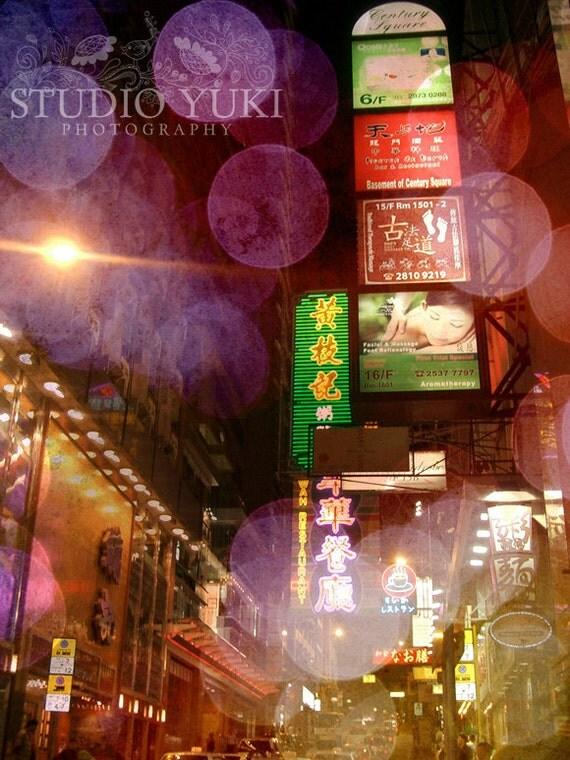 Hong Kong Photograph, Fine Art Travel Photography, Moody, Street View, Neon Signs, Lights, Urban, China, Nightlife - Hong Kong Love