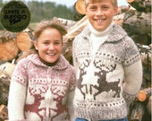 Cowichan White Buffalo Wool Child Teen Reindeer Sweater Sizes 10 - 12 - 14 on Etsy Instant Download