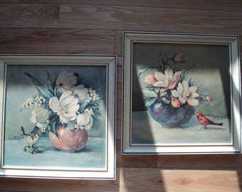 2 Vintage Floral Still Life with Birds, Two Lithographic Prints  by The Artist Countess Zichy with matching frames in Vintage Condition.