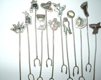 12 Stamped Silver Tapas Forks  or Picks  with Mother of Pearl Inlay Designs, Stamped Alpaca Silver in Very Good Condition