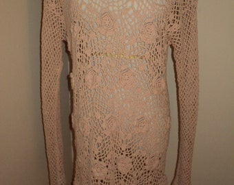 Vintage Pretty Pastel Pink Hand Crochet Knit Beach Coverup with wonderful rosette flowers in this delightfully designed silk textile