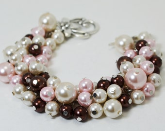 Pink, Brown and Ivory Bracelet, Chunky Bracelet, Pink Bridal Jewelry, Wedding Bracelet, Pink and Brown Bridesmaid Jewelry, Pearl Bracelet.