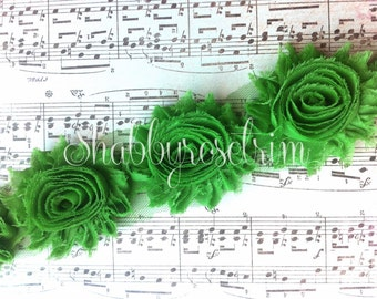 1/2 Yard Emerald Green Chiffon Flower Shabby Rose Trim