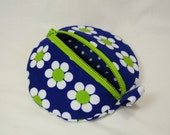 Earbud  Zipper Case White Flowers Blue Polka Dots