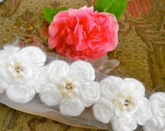 Soft White Floral Trim