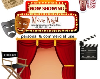 Clip Art: Movie Night Png Digital Images no 053