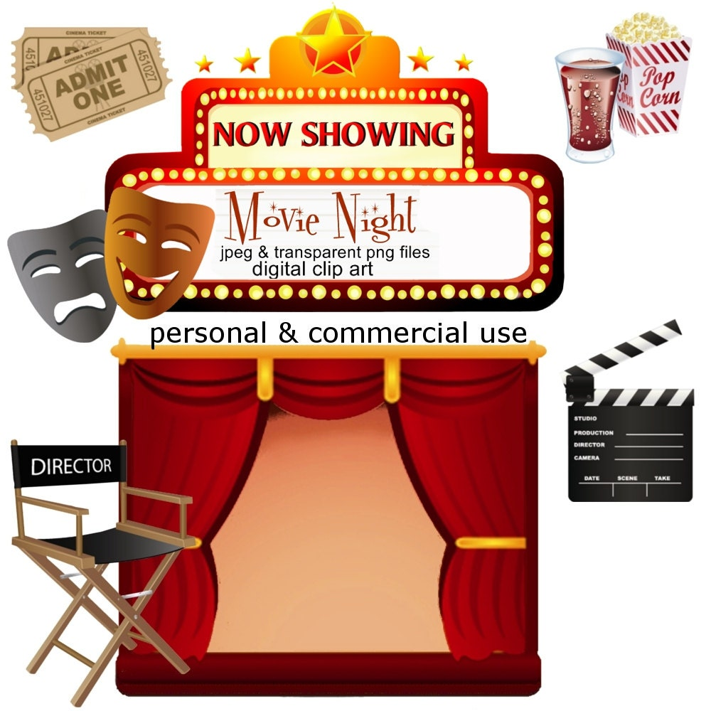 Clip Art: Movie Night Png Digital Images no 053 by graphicexpress