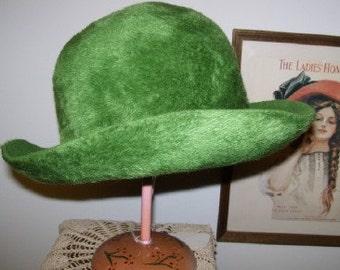 1970s Adolfo II Green Faux Fur Hat Empress West Germany Annie Hall Diane Keaton Style Hat