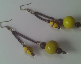 Bright Sunny, Neon Lemon-Lime and Black Chain Earrings, Casual Long Drop Earrings, Spring Earrings
