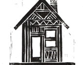 Linocut Print - Home Illustration - Abstract Tribal Cottage / Cabin 5x7  Block Print - 1-5002