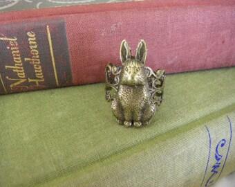 Bunny Rabbit Ring Velveteen Rabbit Inspired  one size adjustable handmade under 20