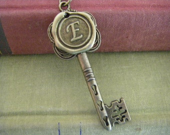 Wax Seal Key Initial Necklace You Choose Letter One Necklace A To Z Personalized
