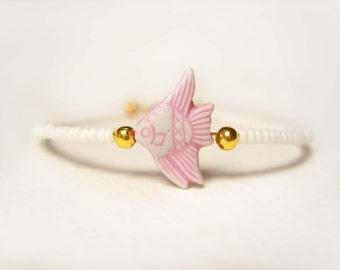 Little Girls Bracelet, Pink Fish Bracelet, Beaded Childrens Bracelet, Angelfish Jewelry UK