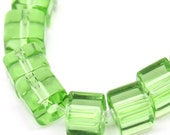 Crystal Glass Beads - Cube - Light Green AB Color - Loose - 5x5mm - 1 Strand (Approx. 75pcs) - Ships IMMEDIATELY from California - B636