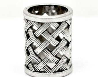 1 Scarf Wrap Bead - Antqiue Silver - Bail Beads For Wrap Scarf - 29x21mm - 17mm Hole - Ships IMMEDIATELY from California - B433