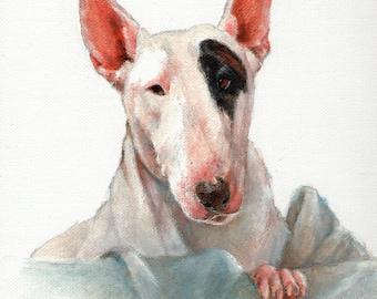 Original Oil Dog Portrait Painting BULL TERRIER Artwork Art from Artist Signed Puppy