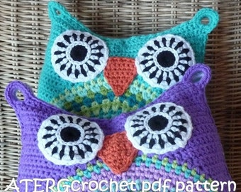 Crochet pattern owl cushion by ATERGcrochet