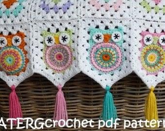 Crochet pattern owl granny square baby blanket by ATERGcrochet