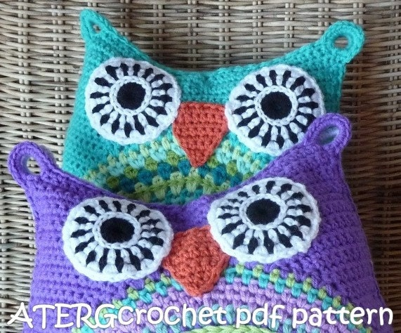Free Crochet Owl Cushion Pillow Pattern : Crochet pattern owl cushion by ATERGcrochet