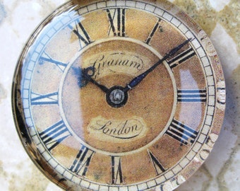 """Vintage Clock Face, London Clock Glass Clock Paperweight Home Decor Office Decor Gift For Him Gift Idea, 2 3/8"""" diameter, 1/2"""" thick"""